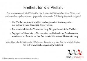 """Tischkärtchen """"Freiheit für die Vielfalt"""" Rückansicht, Kampagne """"Pro Vielfalt"""", Koch.Campus"""
